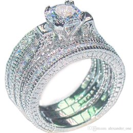 $enCountryForm.capitalKeyWord NZ - Luxury 10KT white gold filled Wedding Gemstone Rings Sets for Women bijoux for lady Vintage Shiny Round Simulated Diamond CZ Jewelry 3-in-1
