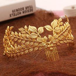 $enCountryForm.capitalKeyWord Australia - New Design Bridal Hair Jewelry Vintage Hair Comb Gold Leaves Crown Leaf Wedding Accessories Wholesale Women Headpiece T190620