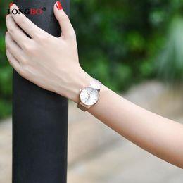 LONGBO Business luxury women diamond watches Japan quartz 5 atm waterproof ladies watch stainless steel fashion reloj mujer BRW 5028