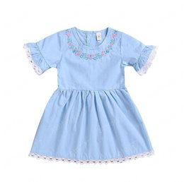 kids cotton frocks wholesale NZ - Medium & Small Girls Summer Cartoon Children Kids Princess Dresses Pleated Dresses Kids Flare Sleeve Frocks Party Costume Free Ship