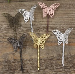 $enCountryForm.capitalKeyWord Australia - 20pcs 55MM Vintage Metal bobby pin bohemia butterfly hairpin rose gold silver hairclip antique bronze hair clip barrettes diy jewelry