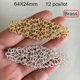 12 Connectors Australia - 12 pcs -64X24mm Brass Filigree Long Flower Connectors,Gold-color,Silver-color,Brass Hollow Filigree Settings,DIY Crafts Jewelry