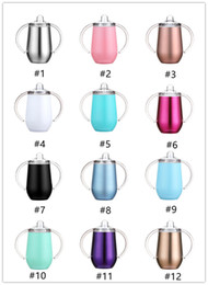 stock handle Australia - New 10oz Stainless Steel Insulated Sippy Cups With Double Handle 12 colors Double Wall Vacuum Tumbler Wine Coffee Beer Mugs in stocK A07