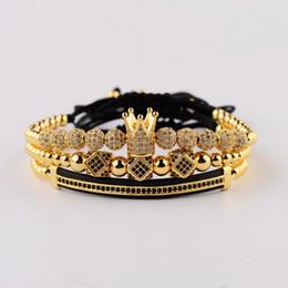 6a32fe40e06f Amader 3 unids   set Luxury Cz Ball Crown Charm Macrame Pulseras de los  hombres de cuentas hechas a mano de tubo largo conjunto Braceletsbangles  para ...