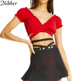$enCountryForm.capitalKeyWord Australia - Nibber summer Solid sexy bandage Cross bandage crop tops hot French romantic style Casual tee ladies Street clothing T5190605