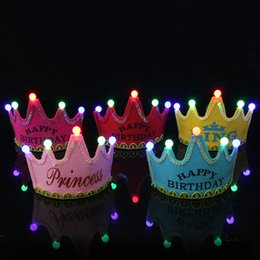 Wholesale 2019 Happy Birthday Party Hat LED Crown Headbands Birthday Party Decoration Hair Pink Princess Blue King Glow Hats Tiara for Adults Kids