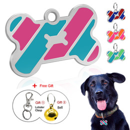 $enCountryForm.capitalKeyWord Australia - Dog ID Tag Custom Metal Pet Tags Stainless Steel Small Large Dog Collar Accessories Personalized Name Tag Plate with Bell