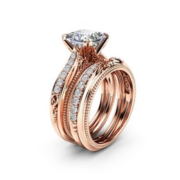 $enCountryForm.capitalKeyWord Australia - 18k Rose Gold Retro Inlaid Zircon Rings The Engagement Princess of A Square Diamond Ring for Women Anillos De Diamante Bizuteria