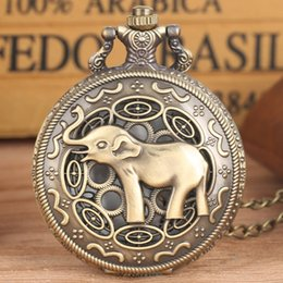Figures Australia - 3D Cute Long Nose Elephant Figure Retro Bronze Hollow Necklace Quartz Pocket Watch Fashion Pendant Watches for Men Women Kids