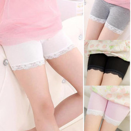girl tight cotton short NZ - Free DHL 6 Colors INS Kids Girls Cotton Shorts Summer Fashion Lace Short Leggings For Girls Safety Pants Baby Short Tights