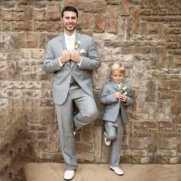 grey slim fit suits for groom Australia - Grey Suits for Wedding Tuxedos Groom Outfits Farther Suits and Son Outfit Best Man Blazers 3Piece Slim Fit trajes de hombre Costume Homme