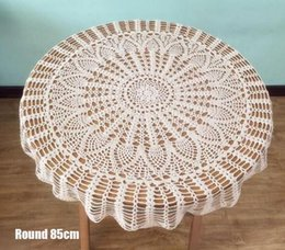 crochet round cloths Canada - Handmade lace white cotton crochet table cloth cover towel tea coffee tablecloth banquet placemat wedding party Christmas decor Y200421