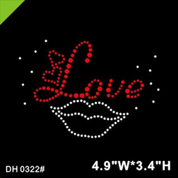 rhinestone hotfix heart NZ - Free shipping Love lip strass hotfix rhinestone motif wholesale DIY DH0322#