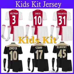 35503bdc06a Top Quality 2018 2019 Ajax Soccer Jersey Kids Kits + Socks 18 19 Camisa  ZIYECH TADIC HUNTELAAR DOLBERG SCHONE Jersey Football Shirt