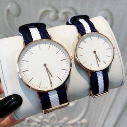 Box Design Free Australia - TOP Fashion Famous Design Nylon Watches For Man Women Luxury Dress Watch Lovers wristwatches Hot salea Quartz Clock Free box Business clock