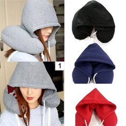 Discount car travel head support - Hooded Pillow Travel Cushion Car Office Airplane Head Rest Neck Straps Support U-Shaped Neck Hooded Travel Pillow