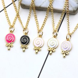Wholesale Cartoons Lollipop Australia - Doughnut Lollipop Necklace Set for Kids Girls Women Forever Collares Candy Jewellery Colorful Spiral Necklaces Cartoon Necklace