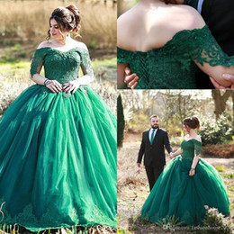 $enCountryForm.capitalKeyWord Australia - Long Sleeves Hunter Green Ball Gown Quinceanera Dresses Off Shoulder Lace Appliques Beaded Puffy Sweet 16 Party Plus Size Prom Evening Gowns
