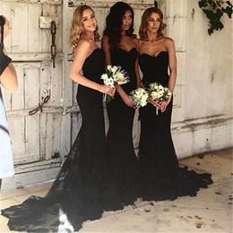 Sexy Black Women Bridesmaid Dress Australia - Black Mermaid Bridesmaid Dresses Sweeep Train Strapless Maid of Honor Dresses Lace Applique Sexy Sweetheart Neck Women Formal Dresses