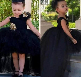 Ruffled floweRs online shopping - 2019 Fashion High Low Girls Pageant Dresses Tulle Tutu Puffy Ball Gowns Kids Flower Girl Dress Appliques Sleeveless Toddler Christmas Gown