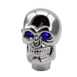 skull gear shift knobs NZ - 1PC Universal Car Blue LED Skull Head Auto Manual Gear Stick Shift Knob Lever