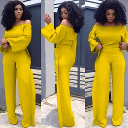 Short legS online shopping - Plus Size Sexy Two Piece Sets Women Slash Neck Flare Sleeve Tops and Ruched Wide Leg Pants Suits Elegent Matching Set Outfits