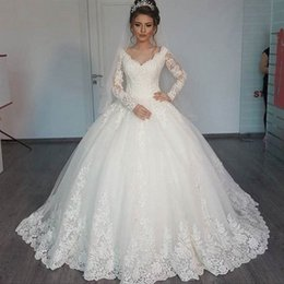 $enCountryForm.capitalKeyWord Canada - 2019 Modest Princess Ball Gown Wedding Dresses V Neck Illusion Long Sleeves Lace Appliques Puffy Bridal Gowns High Quality