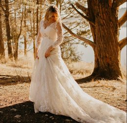 Drop Waist Lace Wedding Dresses Straps Australia - 2018 New Lace long sleeves Wedding Dresses beading waist Plus Size Applique V Neck Court Train Wedding Dress Bridal Gowns vestido de novia