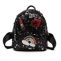 lipstick for girls 2019 - School Bag For Girls Small Hologram Bag Sequins Laser With Sparkles Lips Lipstick Children's Backpacks For Girls ch