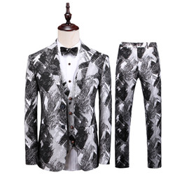 Men's suits men's suit three-piece suit (jacket + pants + vest) gray-white slim suit men's banquet evening dress