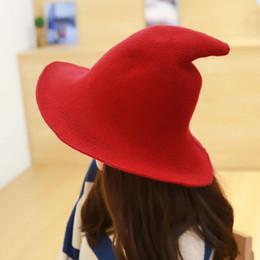 f813400eb29 Women Witch Solid Christmas Hat Pointed Party Autumn Winter Festival Cap  Wide Brim All-Match Halloween