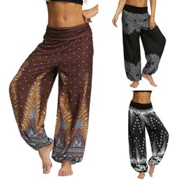 wearing yoga pants Australia - Men Women Casual Loose Hippy Yoga Trousers Baggy Boho Aladdin Pants comperssion pants batik indonesia gym wear set ensemble suit