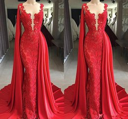 watteau evening dresses Australia - Long Red 2019 New Arrival Lace Mermaid Prom Dresses Watteau Train Sheer Neck Formal Dresses Evening Gowns vestidos de fiesta robes de bal