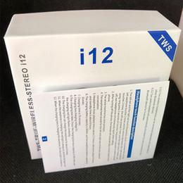 Großhandel i12 TWS Touch Wireless-Ohrhörer Doppelter V5.0-Bluetooth-Kopfhörer für Stereo-Ohrhörer mit Headset für drahtlose Kopfhörer mit Touch-Steuerung SIRI
