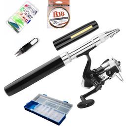 Pen Combo Australia - 1M Portable Fishing Rod Combo Set Pen mini fishing rod Reel Line Lures Hooks with Travel Box for river lake sea