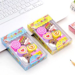 rubber eraser cake NZ - 6In1 Kawaii Cake Pencil Eraser for Office School Creative Stationery Supplies Kawaii Kids Writing Rubber Drawing Student Gift