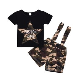 $enCountryForm.capitalKeyWord UK - Toddler Baby girl Boys five-pointed star Cotton T-shirt+strap Camo short Trousers Outfits Kid Children Clothing Black Tee