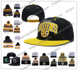 Beanies Black yellow online shopping - Boston Bruins Ice Hockey Knit Beanies Embroidery Adjustable Hat Embroidered Snapback Caps Black White Yellow Gray Stitched Hats