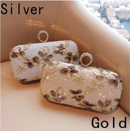 2019 Najnowsza Moda Lady Torba Ręka Liście Kształt Haft Vintage Silver Gold Ladies Sprzęgła Wieczorowa Torba z łańcuchem