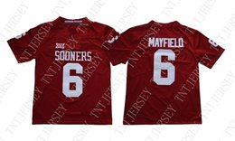 a63700b39d9 Cheap custom  6 BAKER MAYFIELD OKLAHOMA SOONERS RED JERSEY Stitched  Customize any number name MEN WOMEN YOUTH XS-5XL