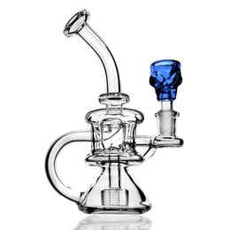 $enCountryForm.capitalKeyWord Australia - Clear Recycler Bong Bubbler Glass Water Bongs Dab Rigs Percolater Dab Rig Glass Bong Water Pipe Blue Skull Head 14mm Bowl Free Shipping