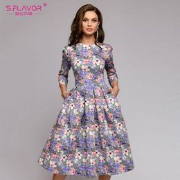 hot dress street Australia - S,flavor Women Srping Summer Dress Hot Sale Casual Style Printing Long Dress For Female O-neck Long Sleeve Loose Vestidos Y19051102