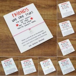 friendship greetings card Canada - Wish Bracelet With Gift Card Newest Friends are like stars Charm Bracelets Bangles for Women men Friendship Bracelet Greeting Cards