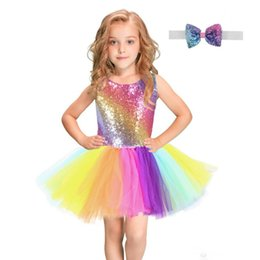 $enCountryForm.capitalKeyWord UK - Rainbow Sequined Girl Tutu Dress With Bow Headband Sleeveless Backless Birthday Wedding Party Dresses Sundress Vest Dress