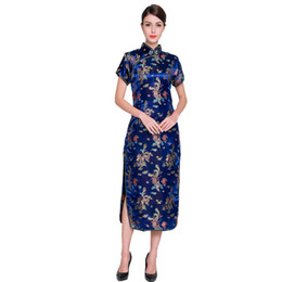 776793848 Vintage Blue Chinese Ladies Traditional Cheongsam Prom Gown Dress Women  Long Qipao Evening Party Costume Oversize 4XL 5XL 6XL