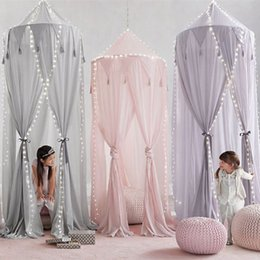 netting curtain dome 2019 - Kid Baby Bed Canopy Bedcover Mosquito Net Curtain Bedding Round Dome Tent Cotton Baby Bed Mosquito Net cheap netting cur