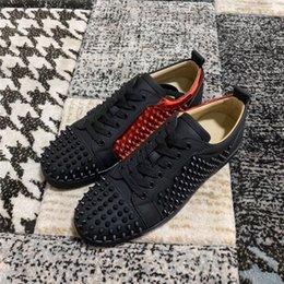 $enCountryForm.capitalKeyWord Australia - black genuine leather match red and black splice rivets decorative design low-top lace-up casual shoes men women sneakers with box free ship