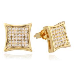 Venta al por mayor de Pendientes de oreja de hip hop con diamantes para hombres, geometría, diamantes de imitación, pendientes de oro plateado, oro, cobre, diamante, joyería cuadrada, envío gratis