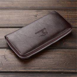 Hand Bags Clip NZ - Factory wholesale brand men bag simple Joker leather long wallet business fashion men hand take money clip casual leather wallet