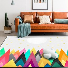 $enCountryForm.capitalKeyWord Australia - AOVOLL Rugs for Children Rooms Abstract Colorful Mountain Sun Pattern Carpet Area Rug for Bedroom Mechanical Wash Floor Mat